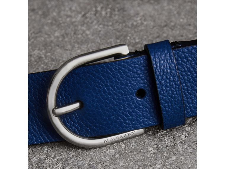 D-shaped Buckle Grainy Leather Belt in Bright Ultramarine - Men | Burberry - cell image 1