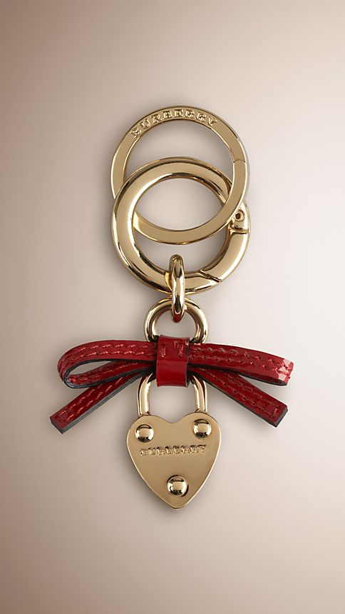Military red Bow Detail Heart Padlock Key Charm - Image 1