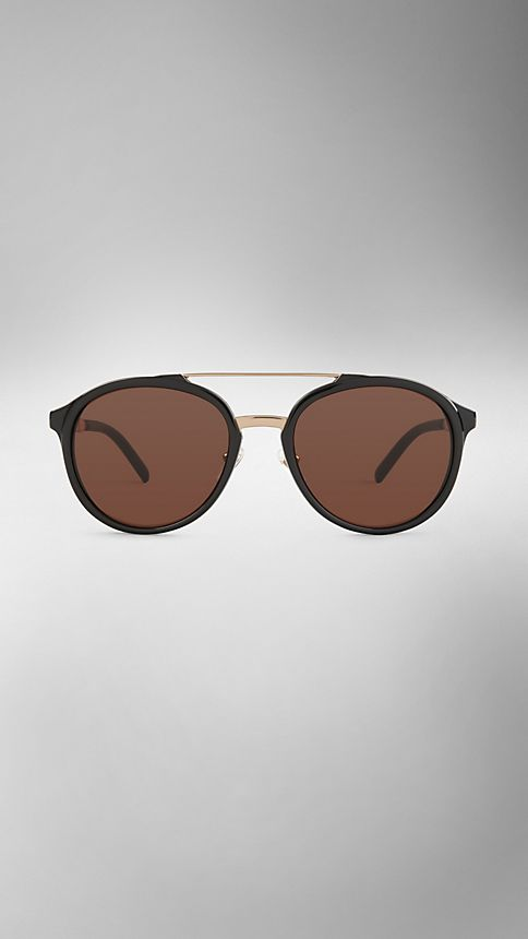 Black Trench Collection Round Frame Sunglasses - Image 2