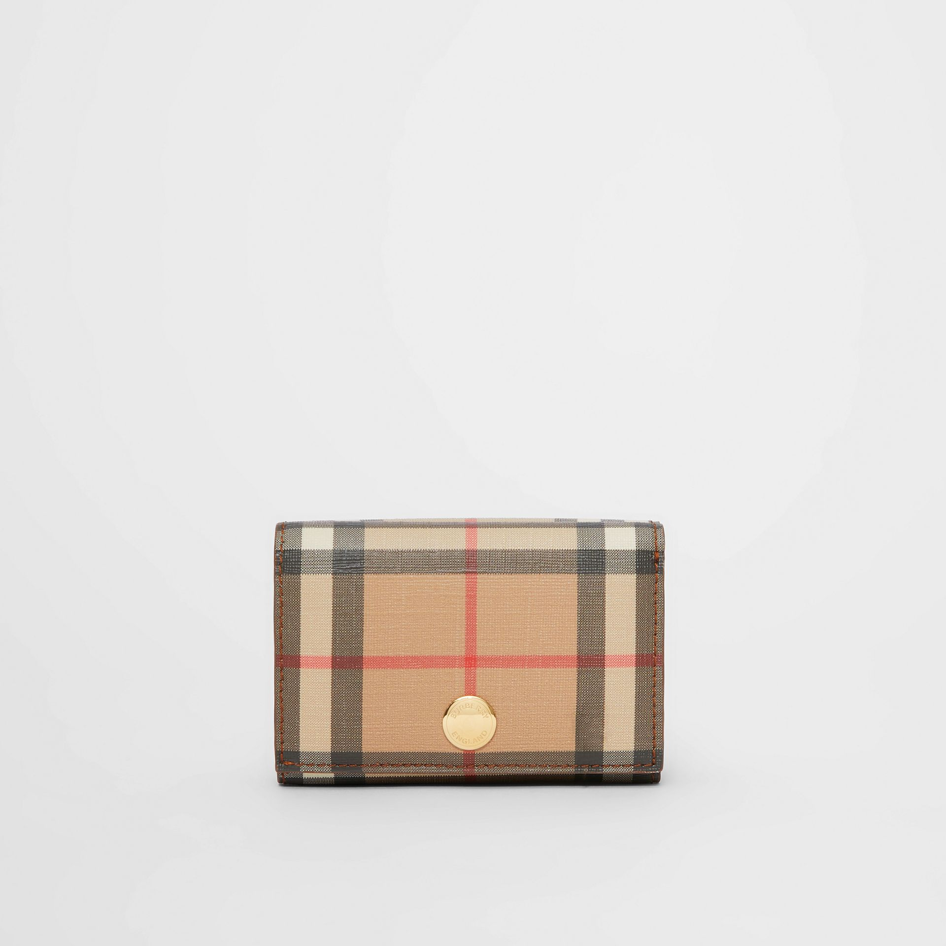 Small Vintage Check E-canvas Folding Wallet in Malt Brown - Women | Burberry - gallery image 5