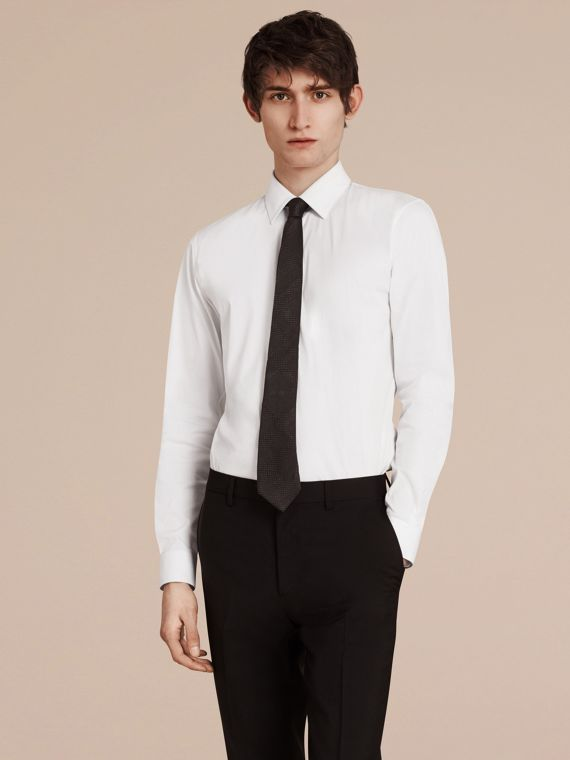 Slim Fit Stretch Cotton Shirt White