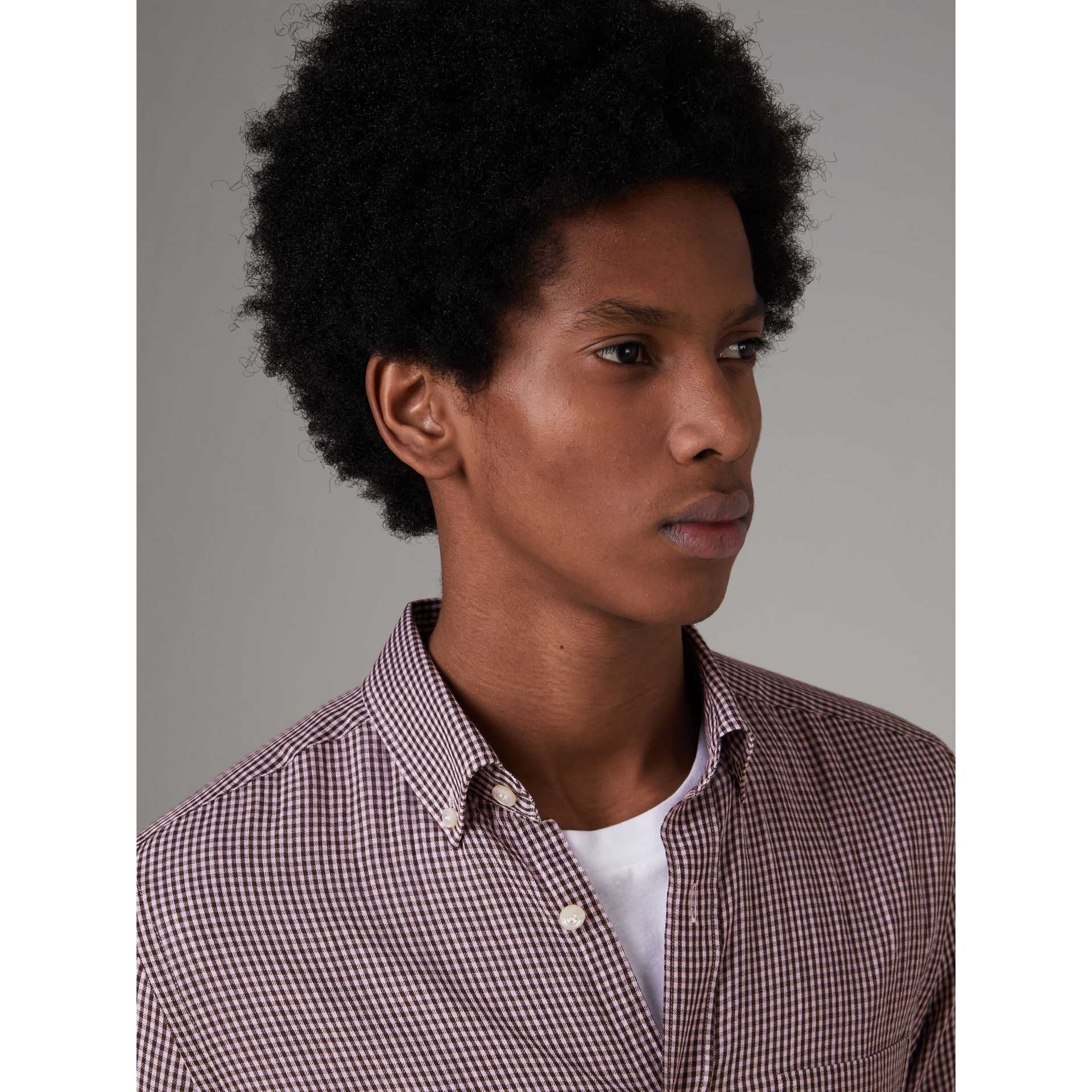 Button-down Collar Gingham Cotton Shirt in Heather Pink - Men | Burberry United Kingdom - gallery image 1