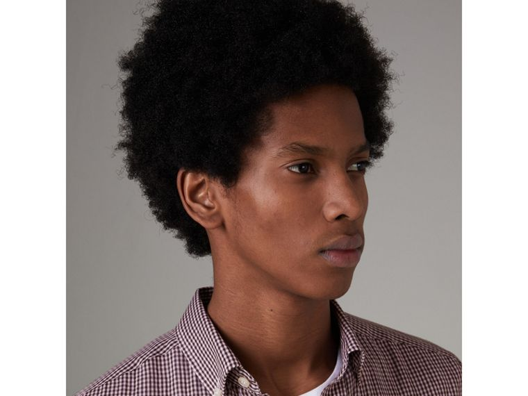Button-down Collar Gingham Cotton Shirt in Heather Pink - Men | Burberry United Kingdom - cell image 1