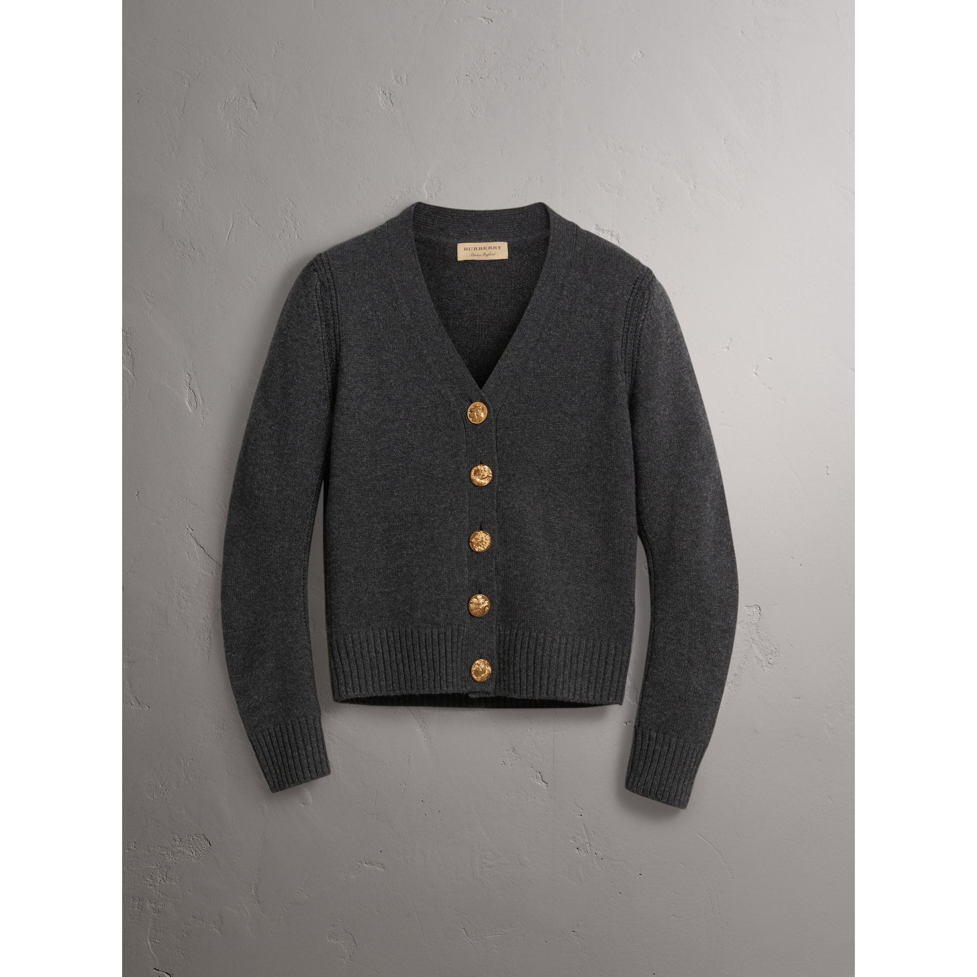 Bird Button Cashmere Cardigan in Charcoal - Women | Burberry - gallery image 3