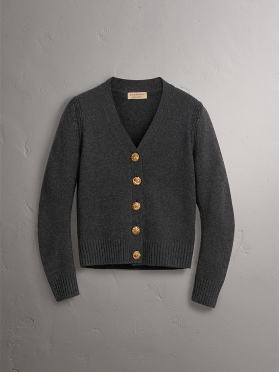 Bird Button Cashmere Cardigan in Charcoal - Women | Burberry - cell image 3