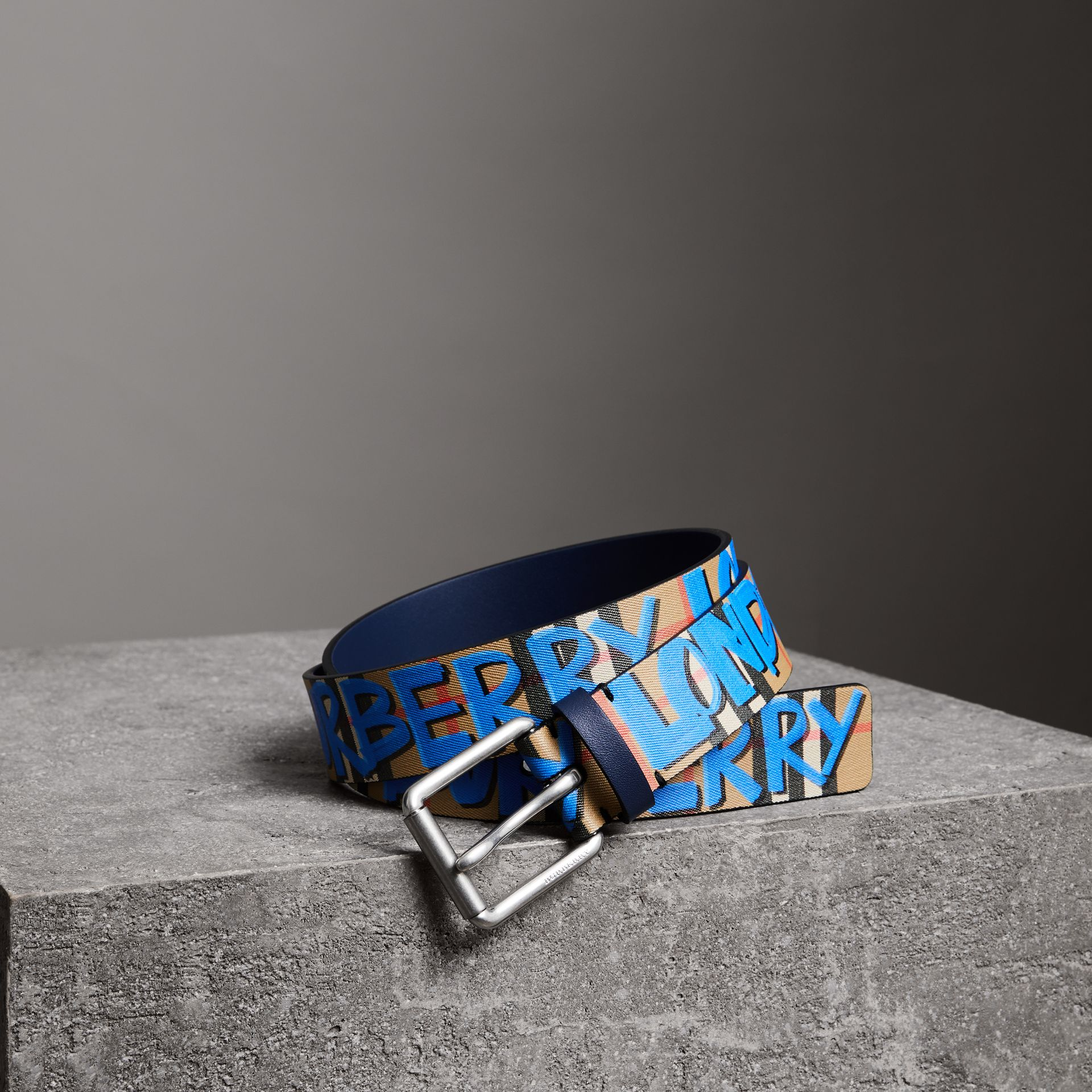 Graffiti Print Vintage Check Leather Belt in Canvas Blue/antique Yellow - Men | Burberry United Kingdom - gallery image 0