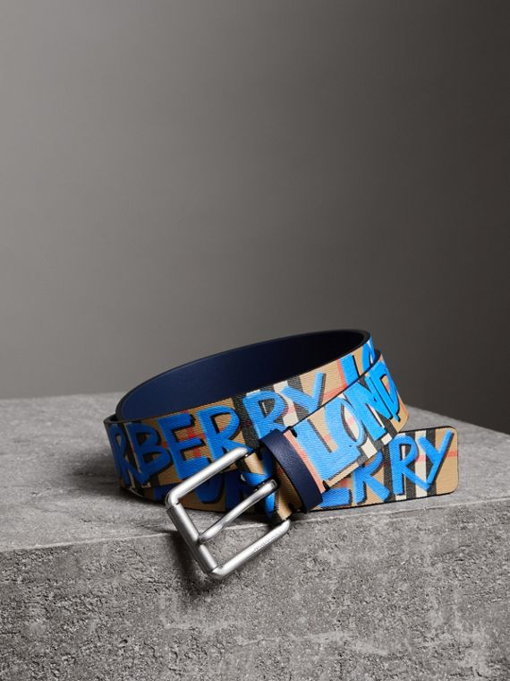 Graffiti Print Vintage Check Leather Belt in Canvas Blue/antique Yellow
