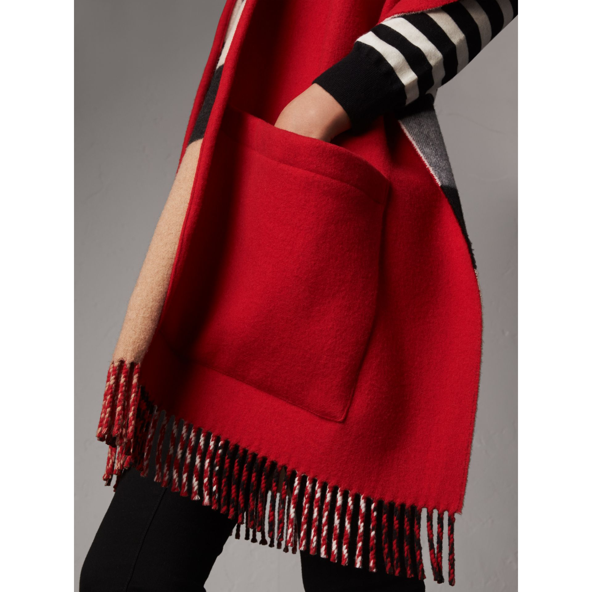 Check-lined Wool Cashmere Hooded Wrap in Military Red/camel - Women | Burberry - gallery image 4