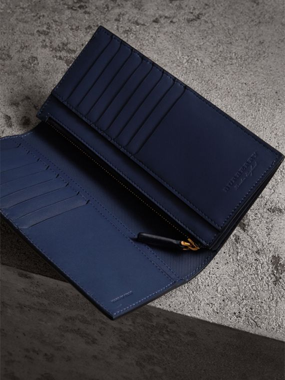 Trench Leather Continental Wallet in Ink Blue - Men | Burberry Canada - cell image 3