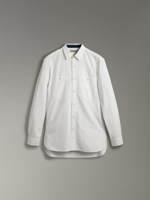 Cotton Oxford Shirt in White - Men | Burberry - cell image 3