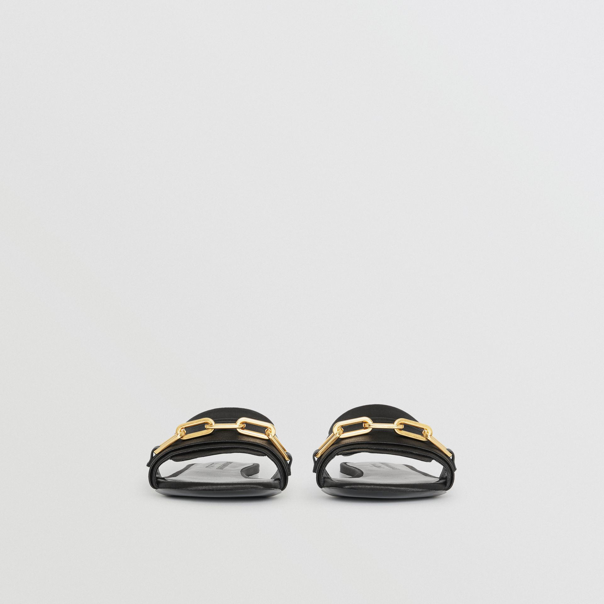 Link Detail Satin and Leather Slides in Black - Women | Burberry - gallery image 3