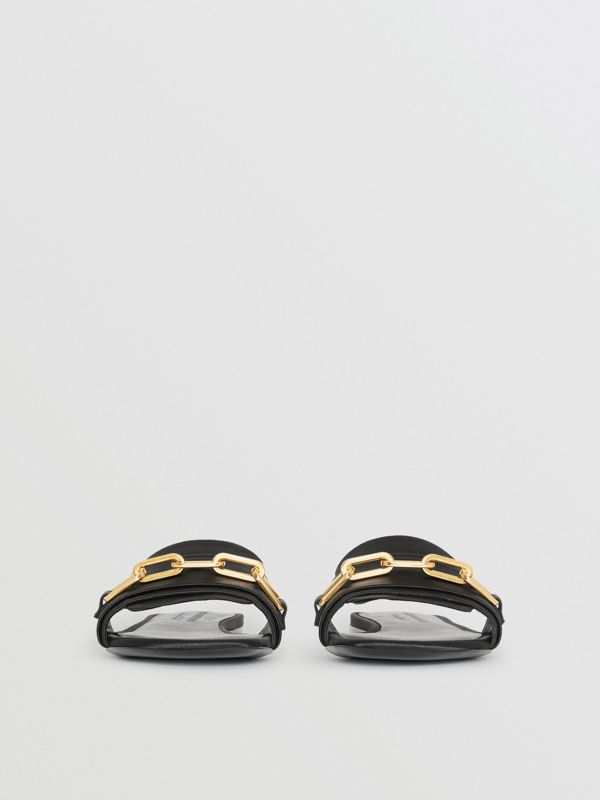 Link Detail Satin and Leather Slides in Black - Women | Burberry - cell image 3
