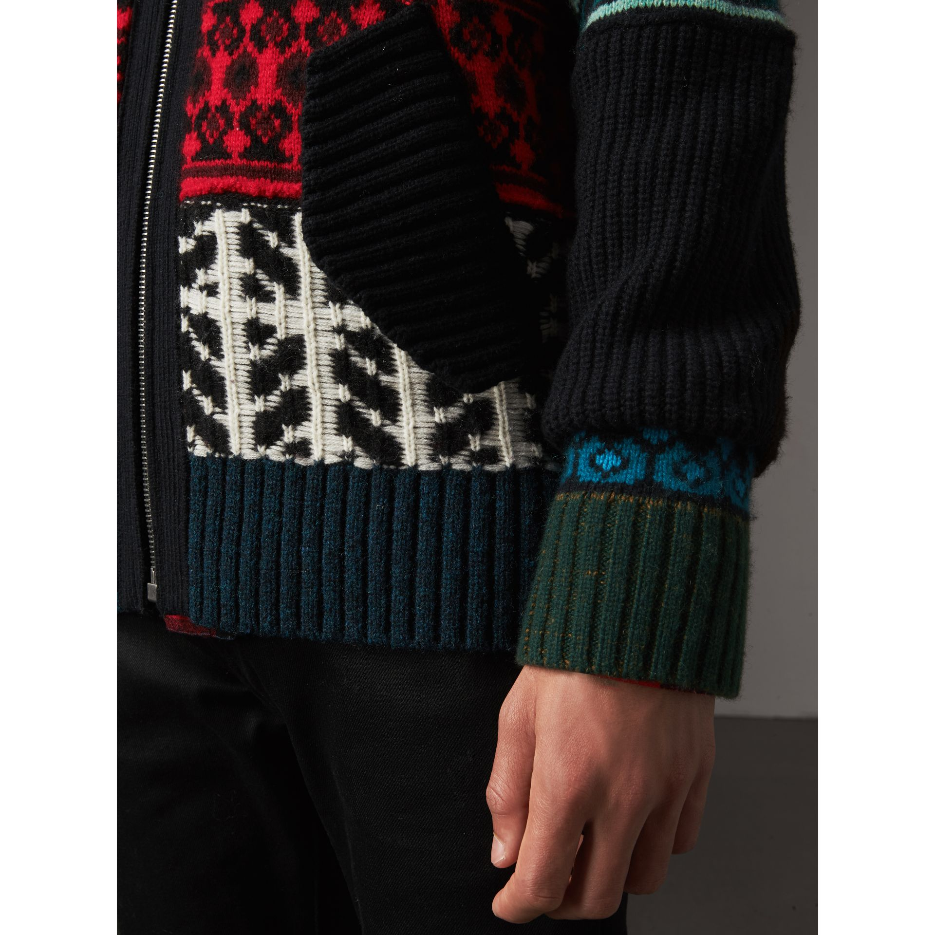 Fair Isle Wool Cashmere Cotton Bomber Jacket in Orange - Men | Burberry Australia - gallery image 5