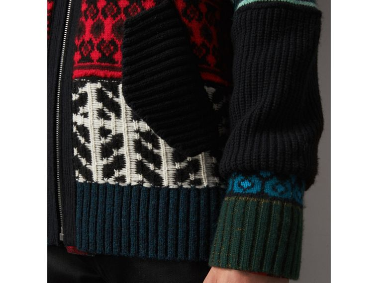 Fair Isle Wool Cashmere Cotton Bomber Jacket in Orange - Men | Burberry Australia - cell image 4