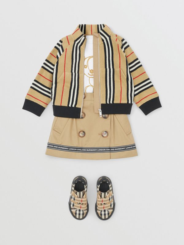 Icon Stripe Cotton Track Top in Archive Beige - Children   Burberry United Kingdom - cell image 2