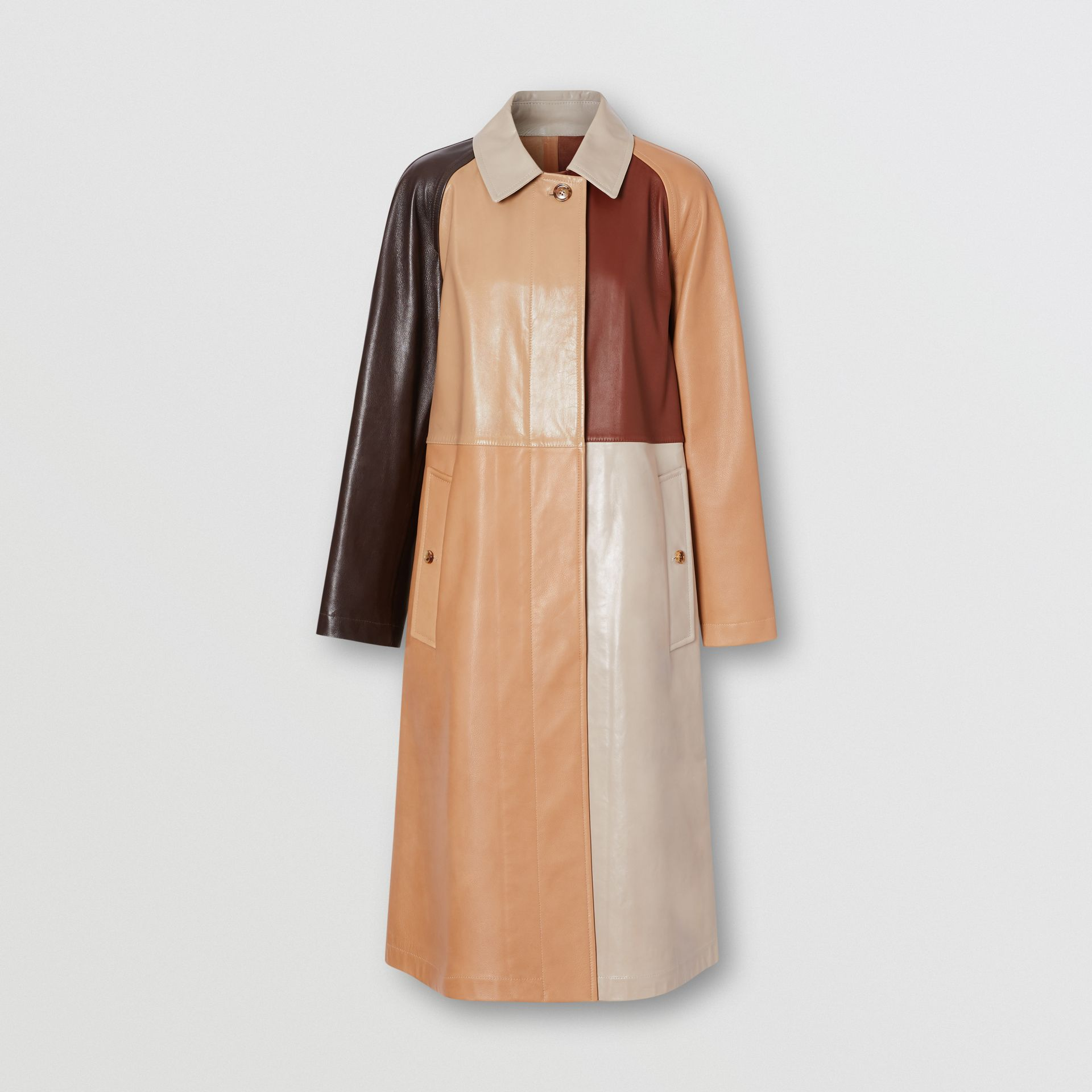 Patchwork Lambskin and Leather Car Coat in Biscuit - Women | Burberry - gallery image 3