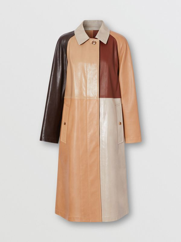 Patchwork Lambskin and Leather Car Coat in Biscuit - Women | Burberry - cell image 3