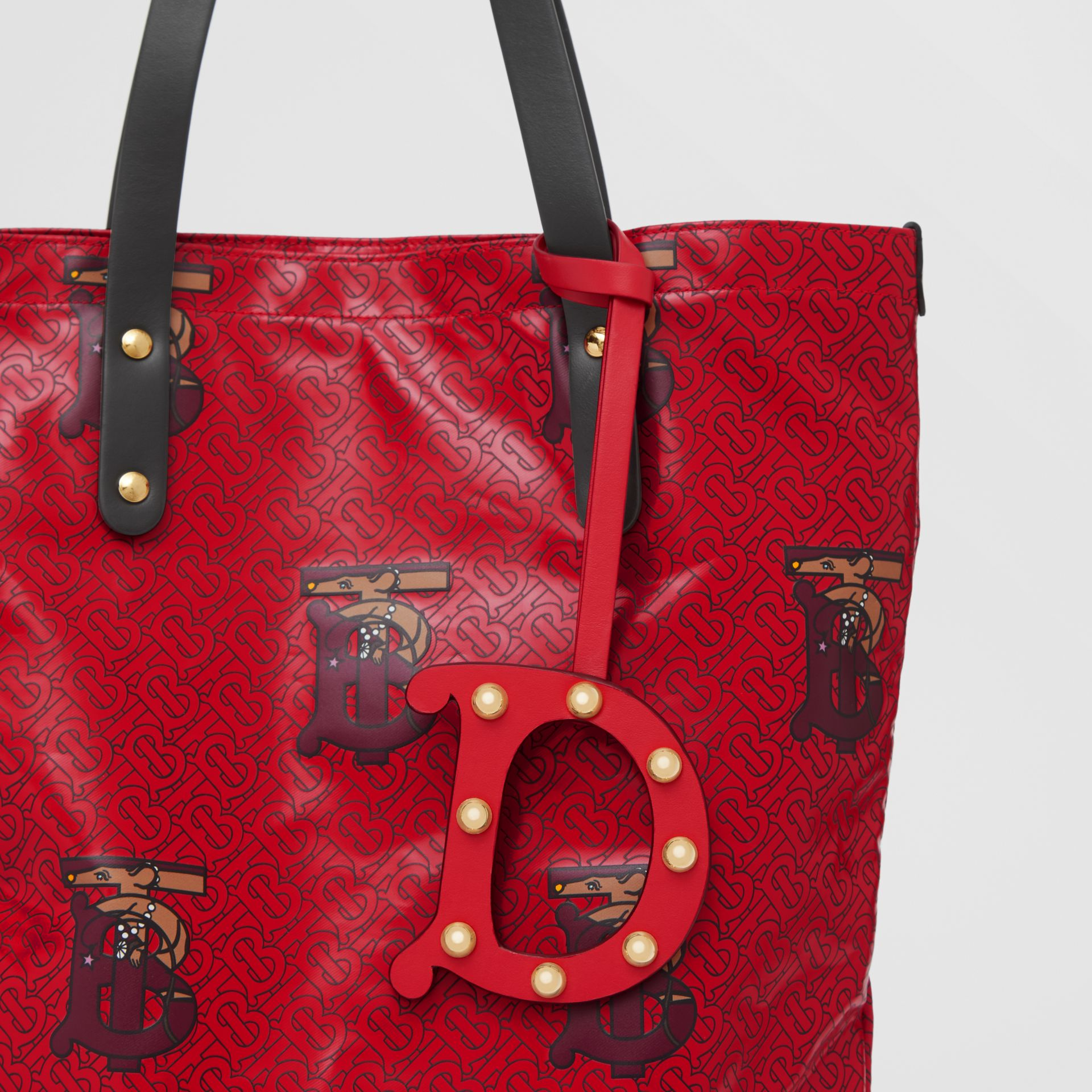 'D' Studded Leather Alphabet Charm in Red/light Gold - Women   Burberry - gallery image 3