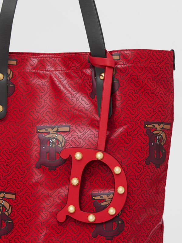 'D' Studded Leather Alphabet Charm in Red/light Gold - Women | Burberry Hong Kong S.A.R - cell image 3