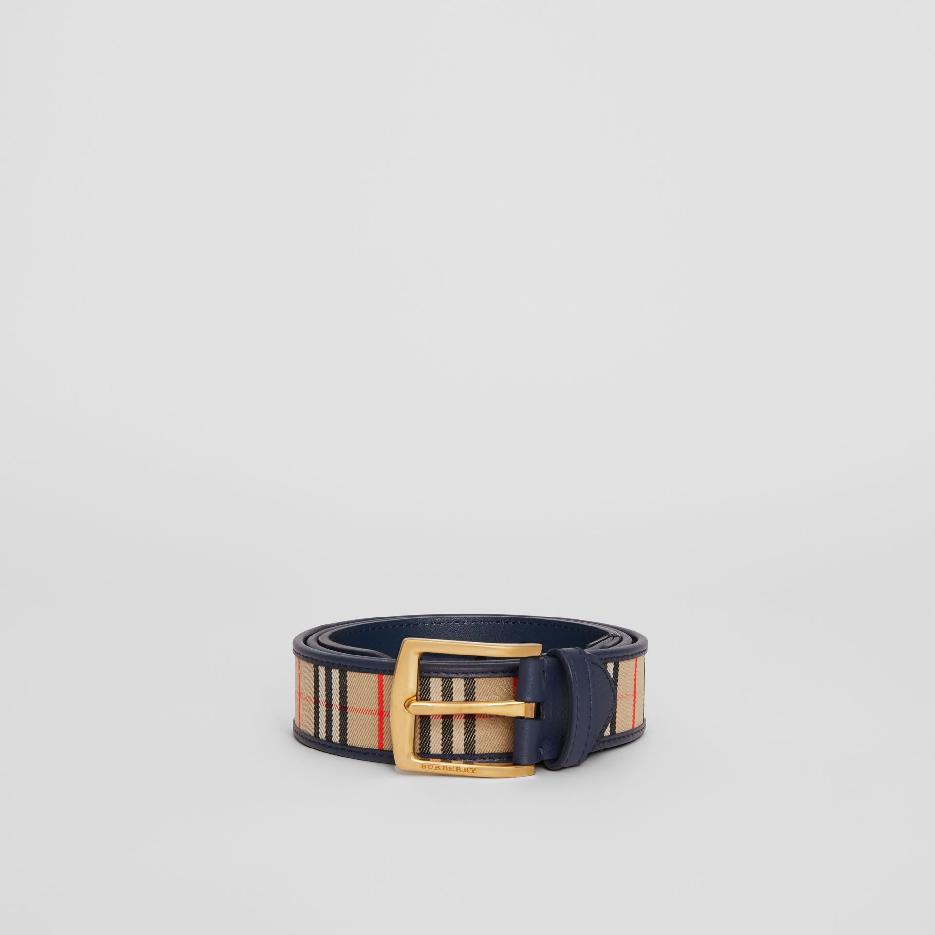 1983 Check and Leather Belt in Ink Blue - Men | Burberry - gallery image 3
