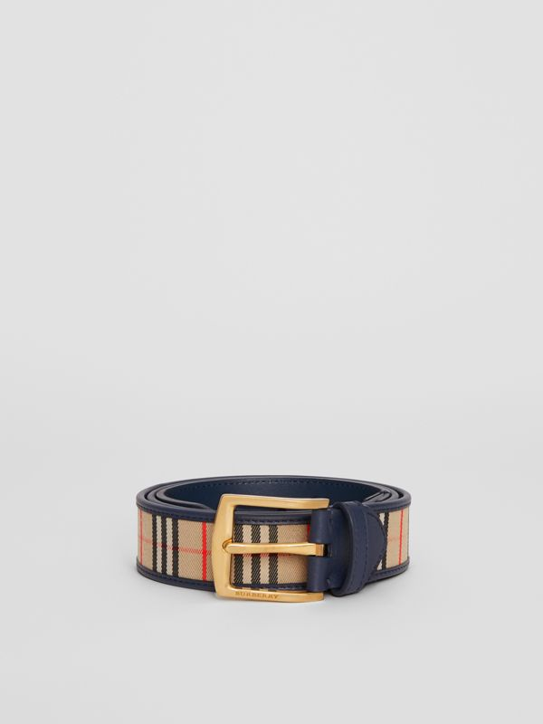 1983 Check and Leather Belt in Ink Blue - Men | Burberry - cell image 3