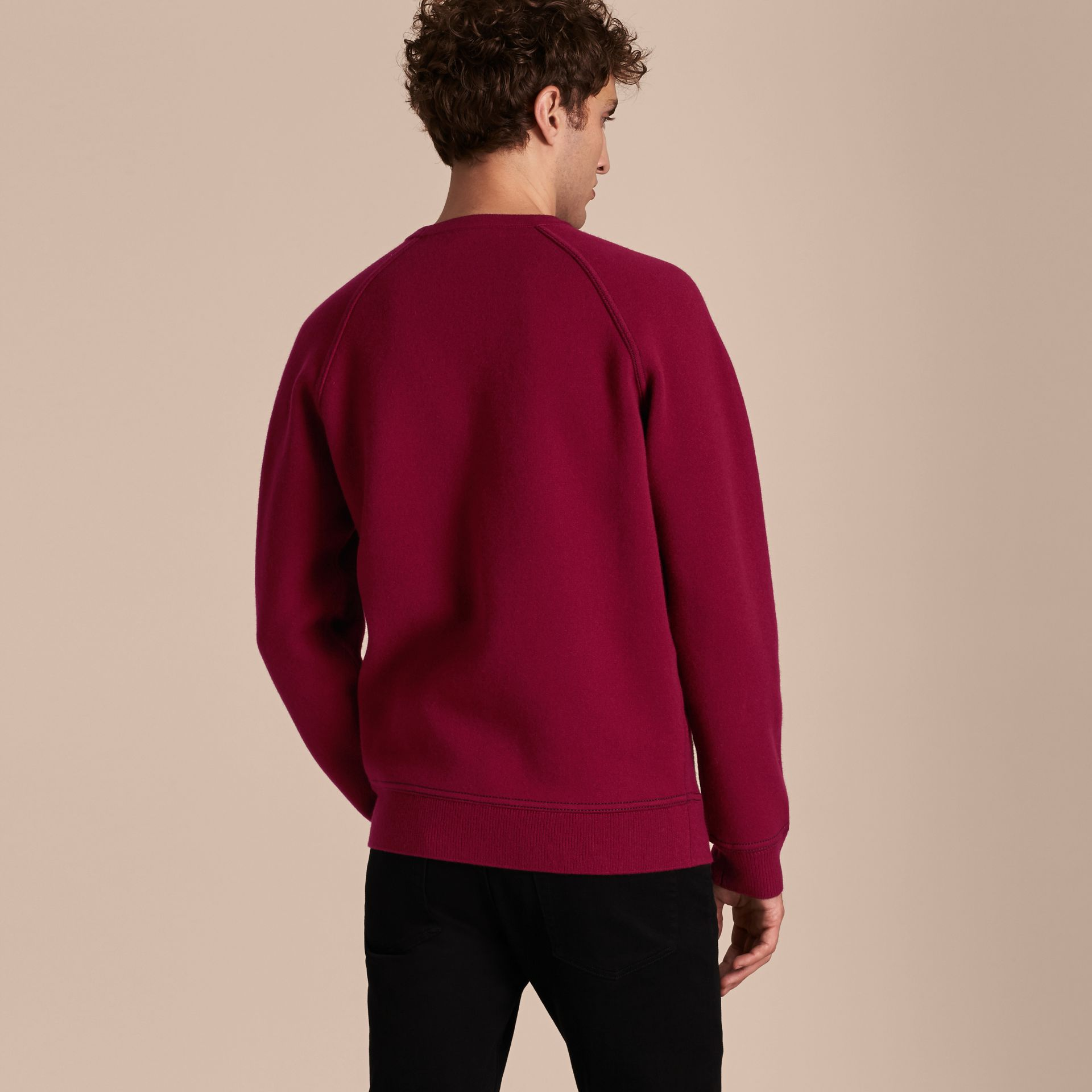 Burgundy Topstitch Detail Wool Cashmere Blend Sweatshirt Burgundy - gallery image 3