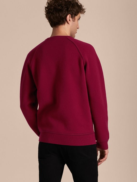 Topstitch Detail Wool Cashmere Blend Sweatshirt in Burgundy - Men | Burberry - cell image 2