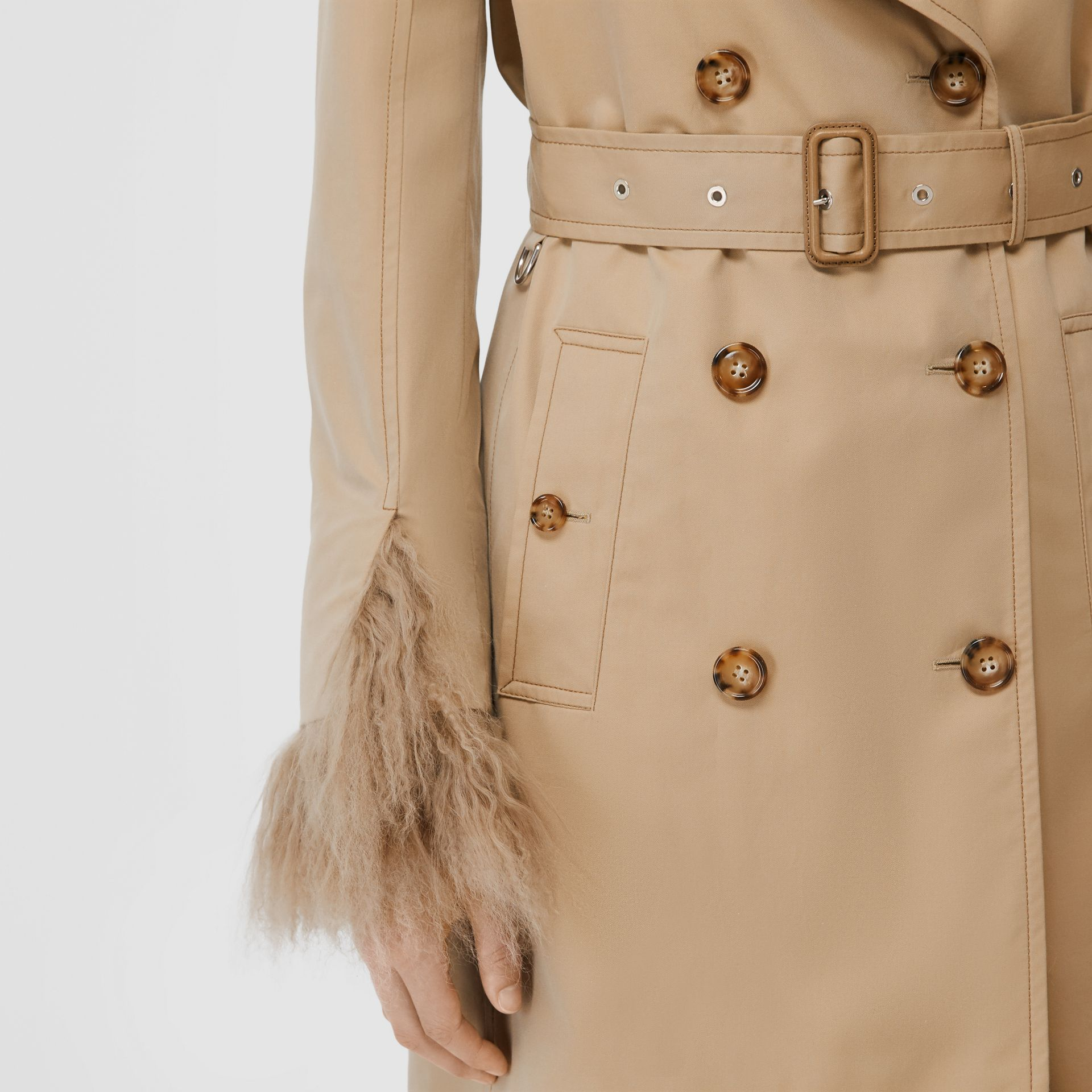 Shearling Trim Cotton Gabardine Belted Trench Coat in Honey - Women | Burberry - gallery image 4
