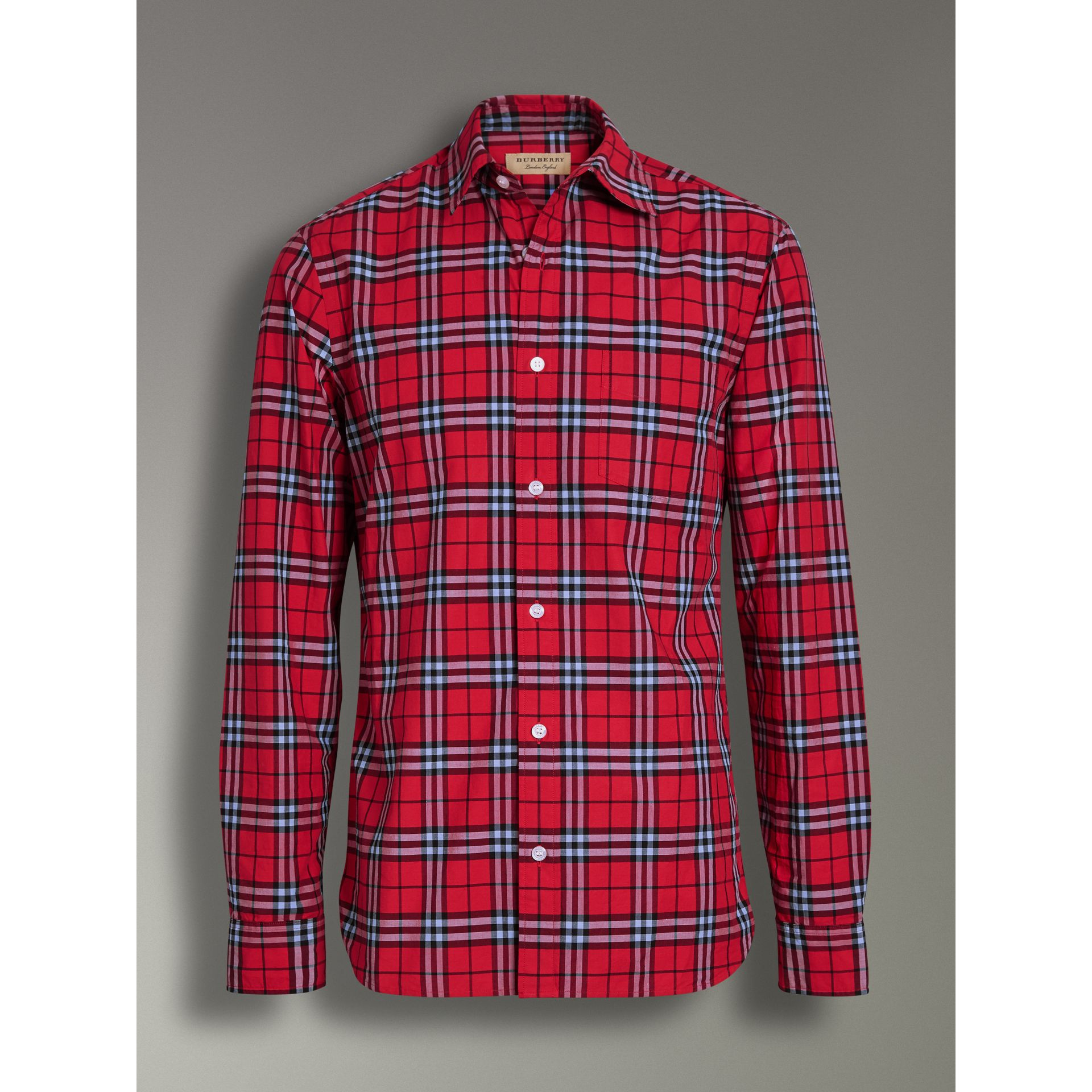 Check Cotton Shirt in Bright Red - Men | Burberry - gallery image 3