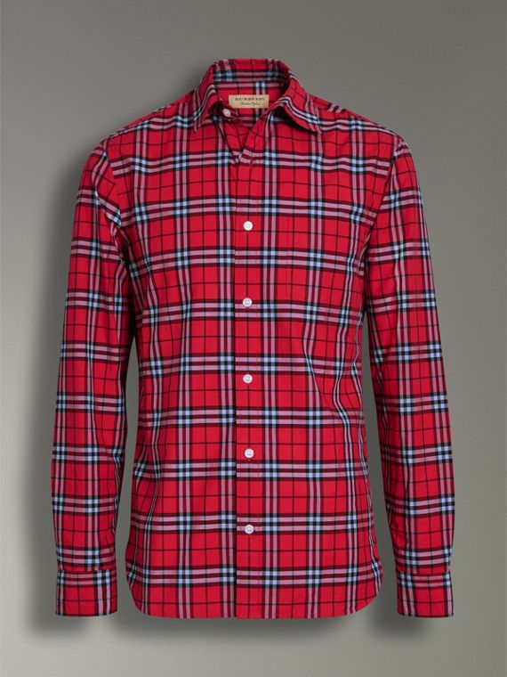 Check Cotton Shirt in Bright Red - Men | Burberry - cell image 3