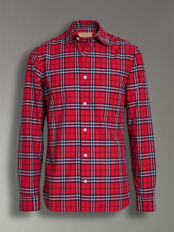 Check Cotton Shirt in Bright Red - Men | Burberry United Kingdom - cell image 3