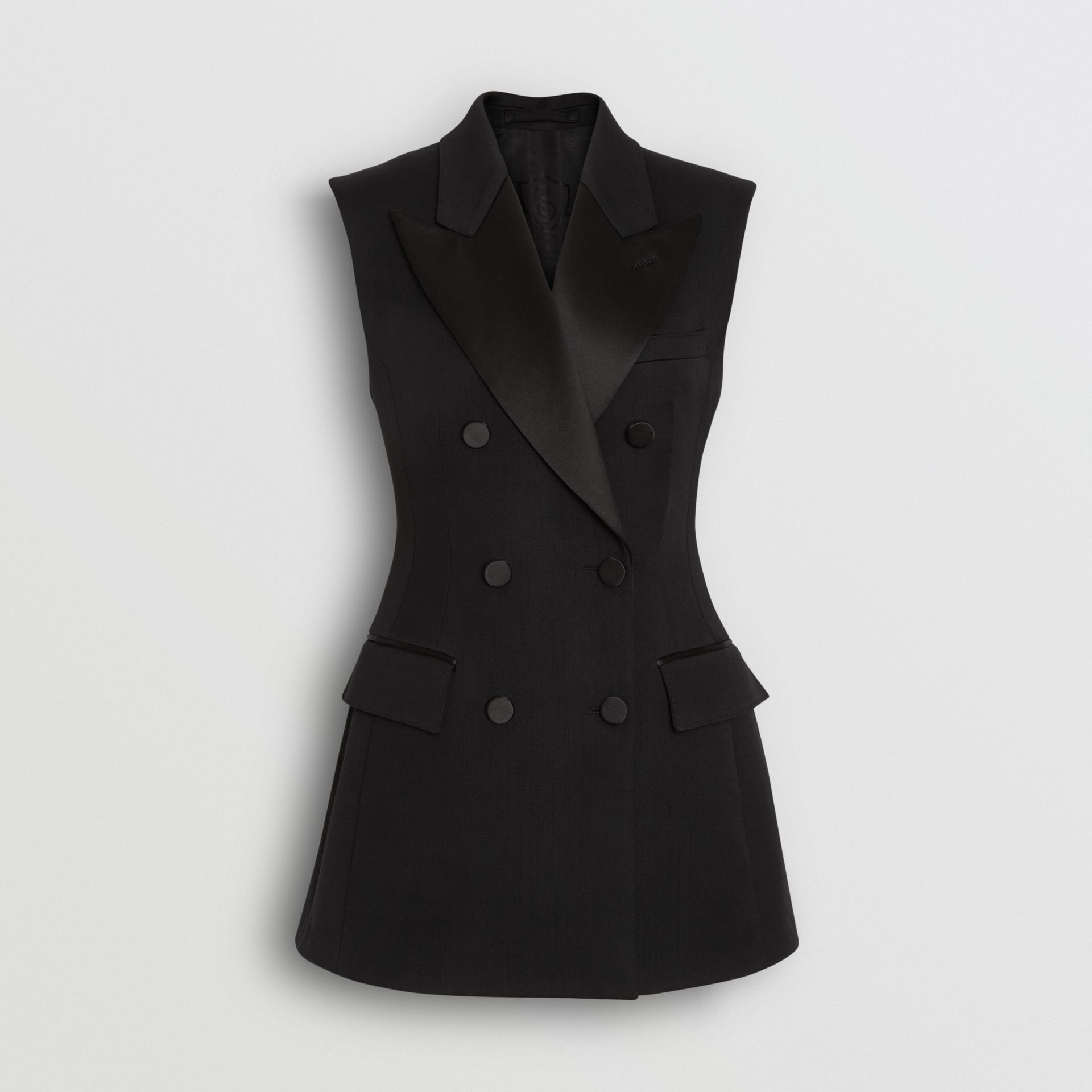 Sleeveless Stretch Wool Double-breasted Jacket in Black - Women | Burberry - gallery image 3