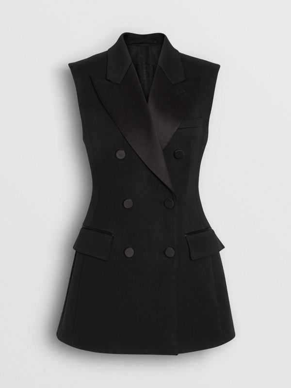 Sleeveless Stretch Wool Double-breasted Jacket in Black - Women | Burberry Singapore - cell image 3