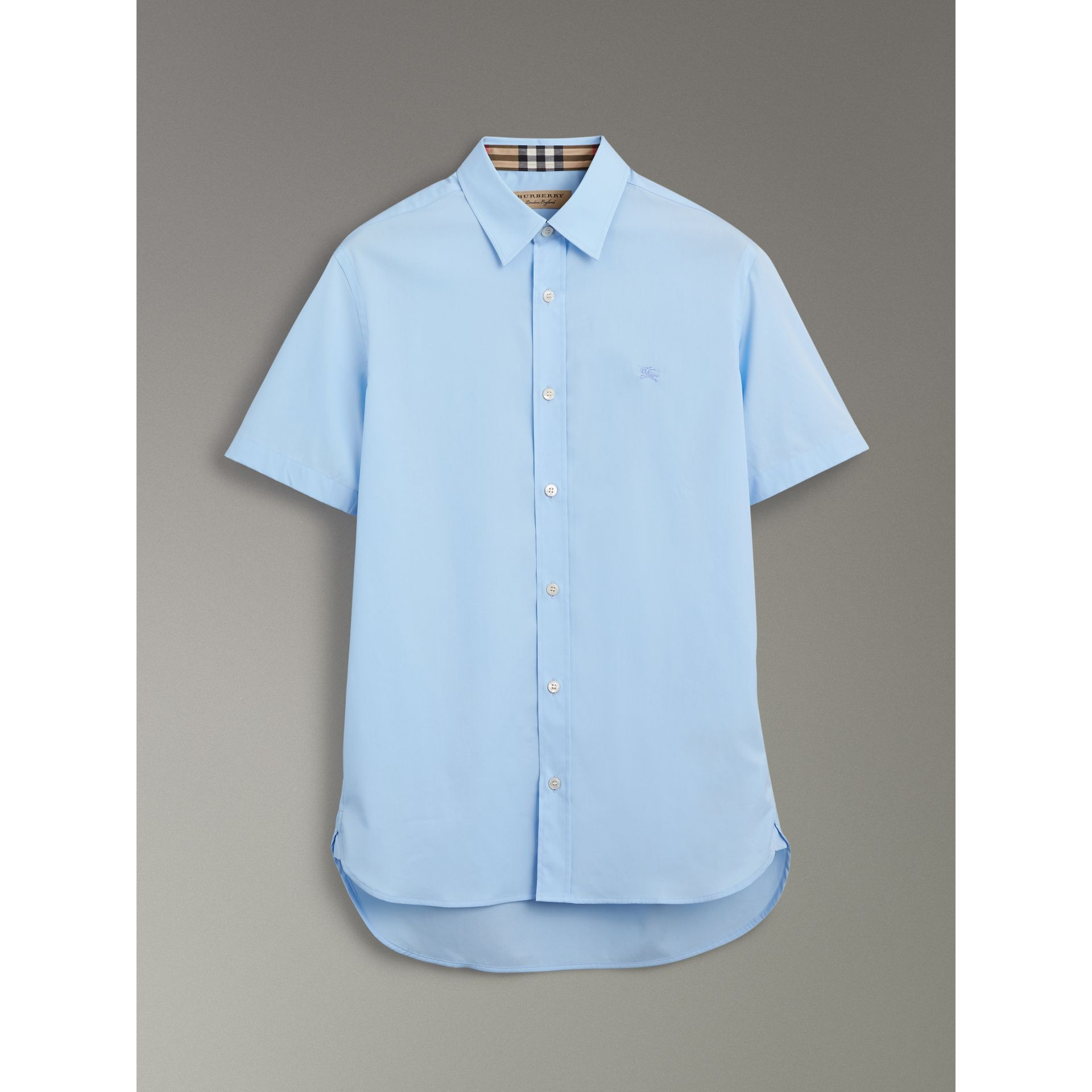 Short-sleeve Stretch Cotton Shirt in Pale Blue - Men | Burberry - gallery image 3