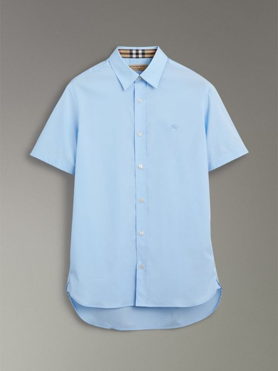 Short-sleeve Stretch Cotton Shirt in Pale Blue - Men | Burberry United Kingdom - cell image 3