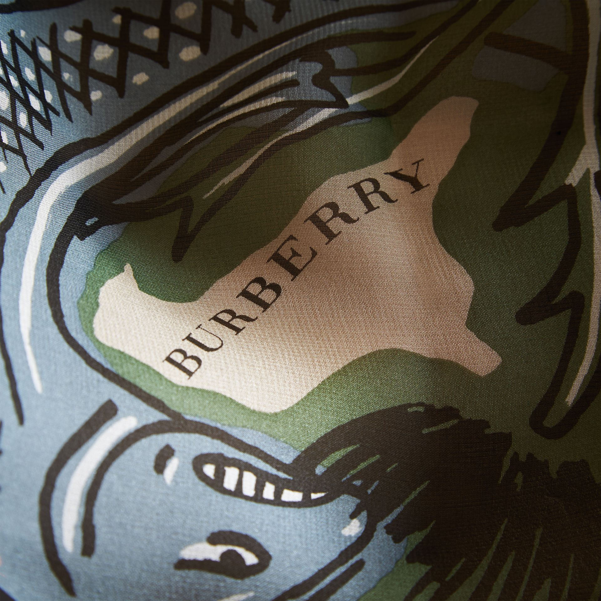 Beasts Print Lightweight Silk Scarf in Sage Green - Women | Burberry Australia - gallery image 2