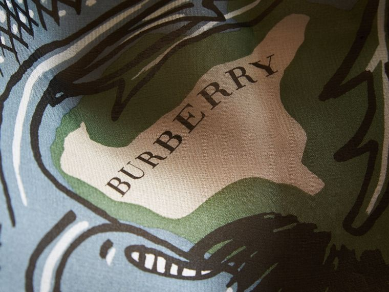 Beasts Print Lightweight Silk Scarf in Sage Green - Women | Burberry United Kingdom - cell image 1