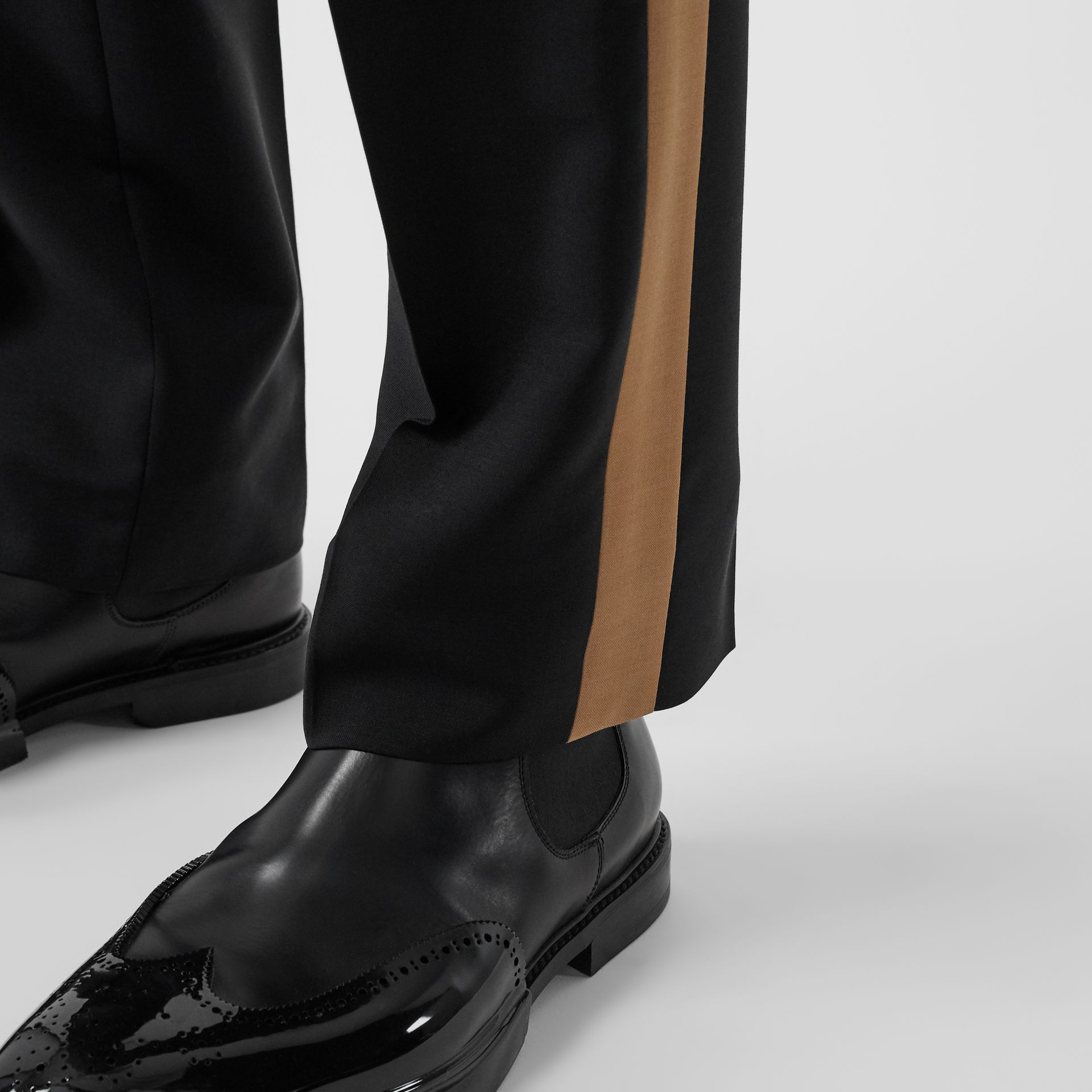 Tri-tone Mohair Wool Tailored Trousers in Black - Men | Burberry - gallery image 5