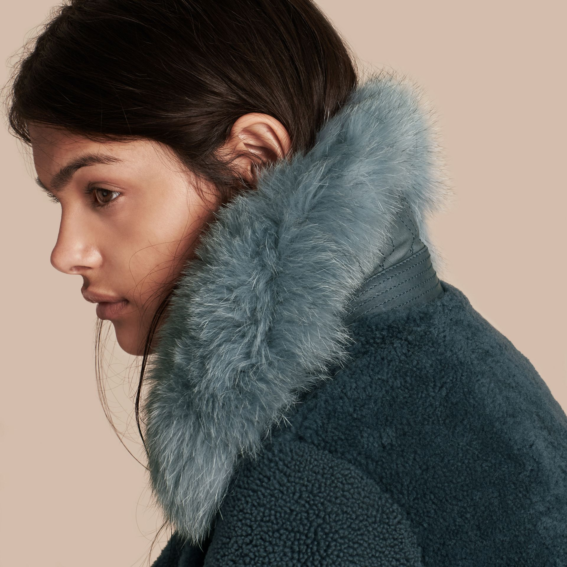 Light steel blue Shearling Biker Jacket with Fur Collar Light Steel Blue - gallery image 5
