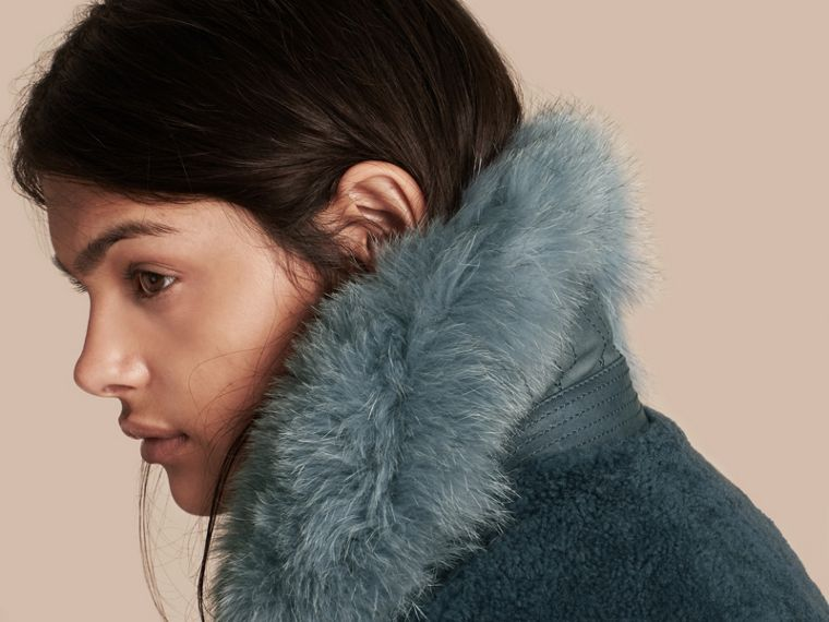 Light steel blue Shearling Biker Jacket with Fur Collar Light Steel Blue - cell image 4
