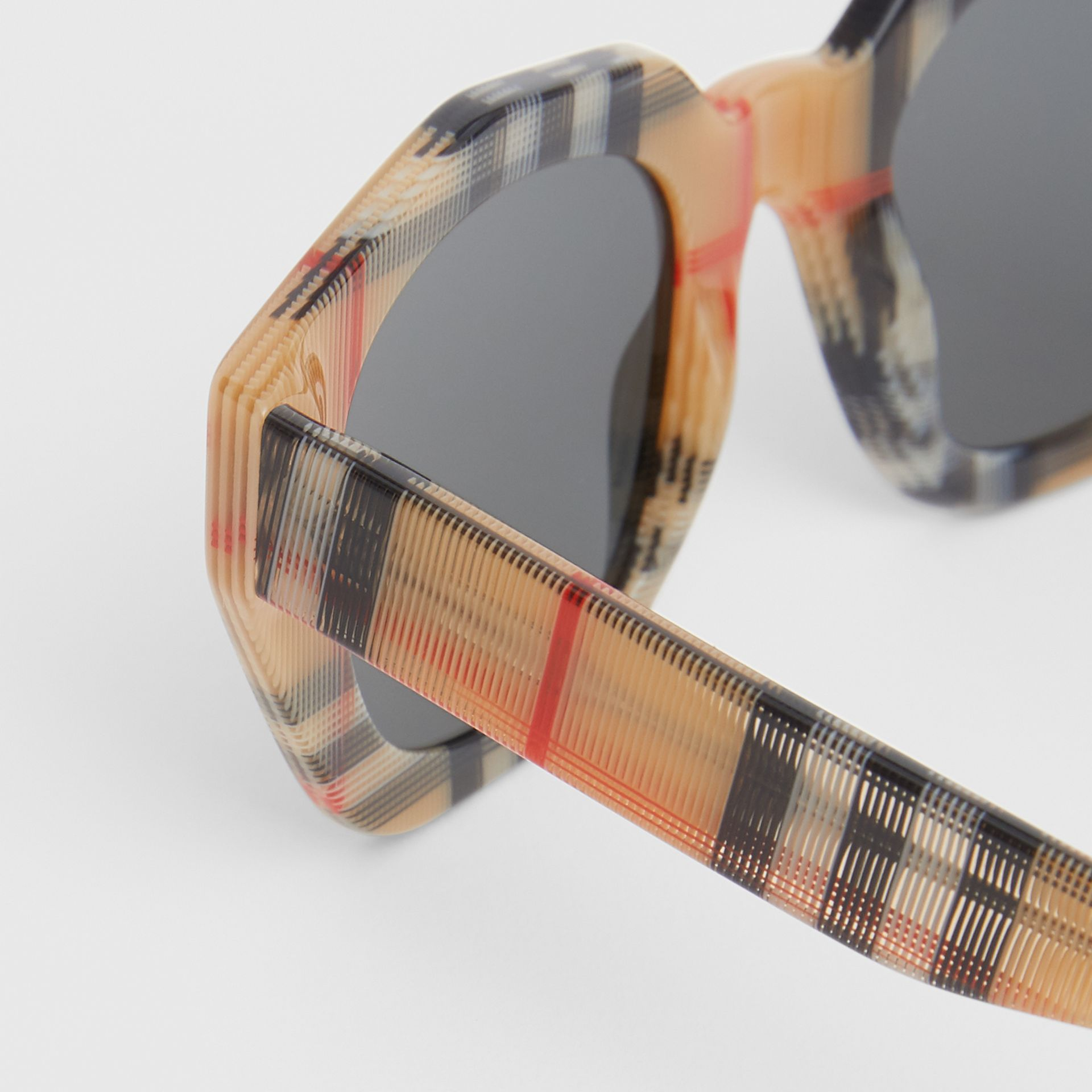 Vintage Check Geometric Frame Sunglasses in Antique Yellow - Women | Burberry Hong Kong - gallery image 1