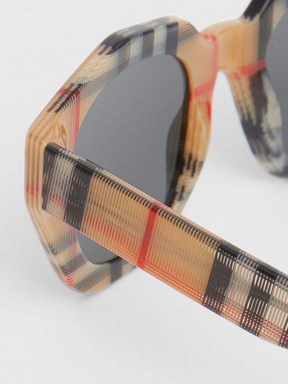Vintage Check Geometric Frame Sunglasses in Antique Yellow - Women | Burberry Hong Kong - cell image 1