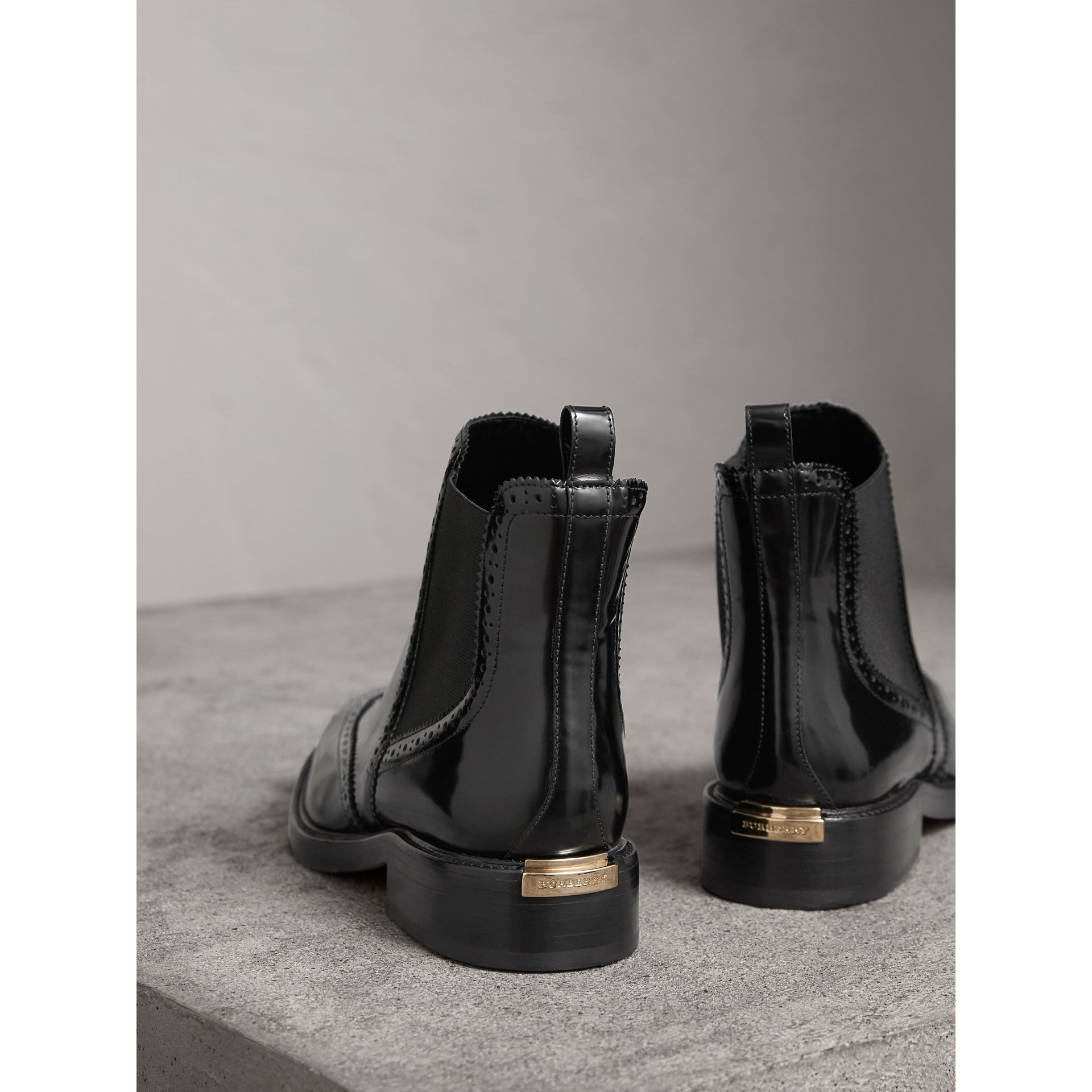 Leather Wingtip Chelsea Boots in Black - Women | Burberry Australia - gallery image 4