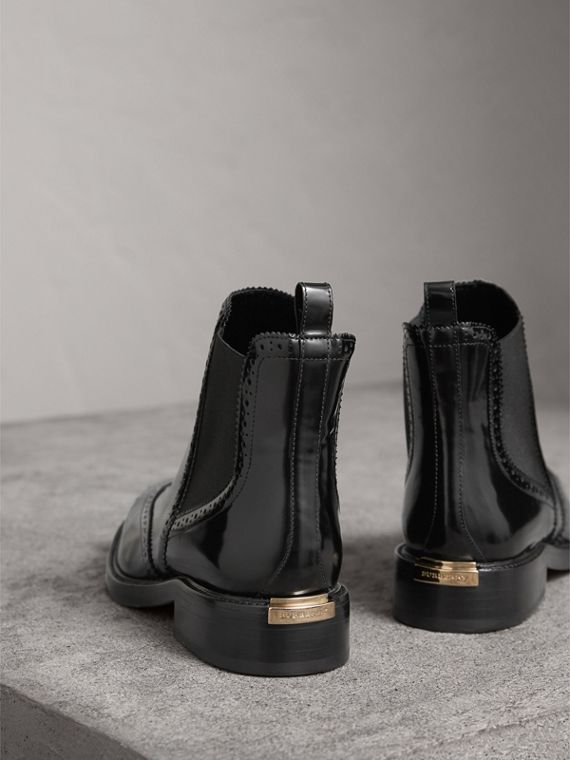 Leather Wingtip Chelsea Boots in Black - Women | Burberry Australia - cell image 3