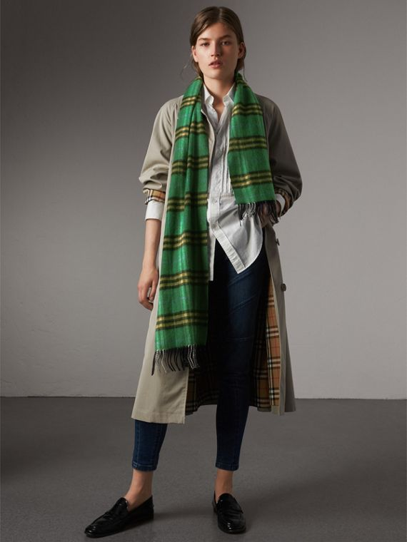 Check Cashmere Scarf in Forest Green