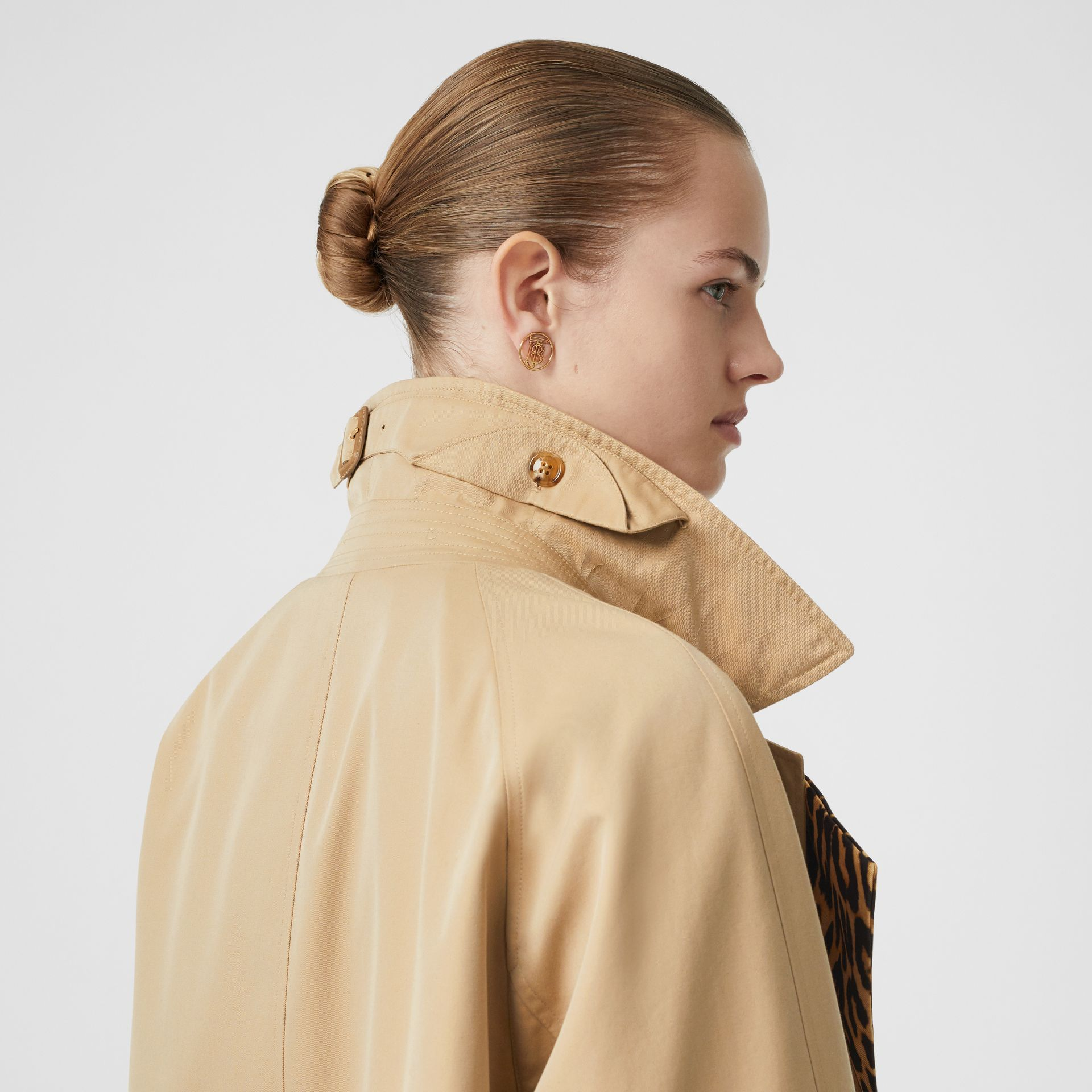 Leopard Print-lined Cotton Gabardine Car Coat in Honey - Women | Burberry Australia - gallery image 7