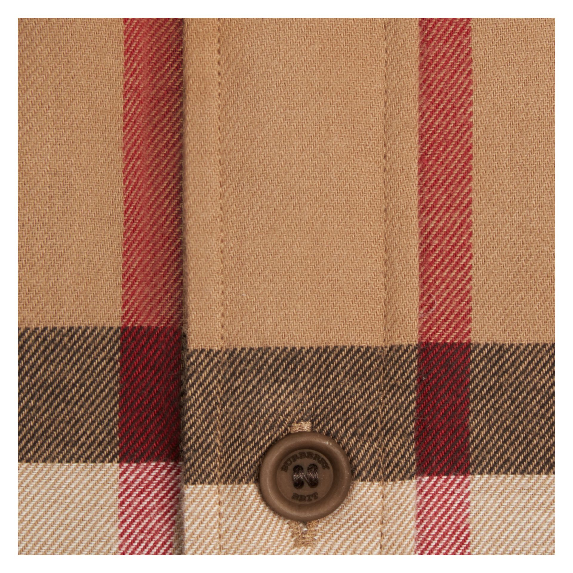 Camel Check Cotton Flannel Shirt Camel - gallery image 2