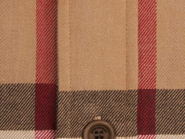 Camel Check Cotton Flannel Shirt Camel - cell image 1