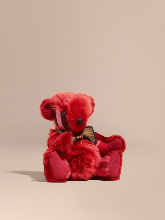 Pom-Pom Thomas Bear in Shearling and Check Cashmere in Parade Red