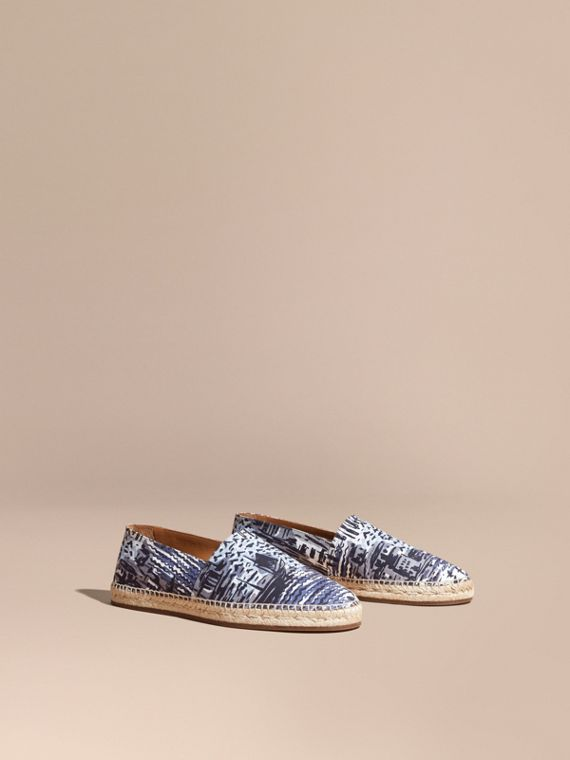 British Seaside Print Cotton Espadrilles Steel Blue